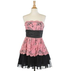Betsey Johnson Black and Pink Strapless Dress